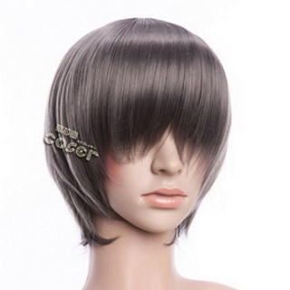 Gray Short Nylon Straight Cosplay Wig