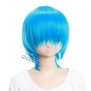 Blue Short Nylon Straight Cosplay Wig