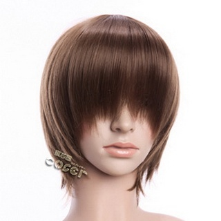 Brown Short Nylon Straight Cosplay Wig