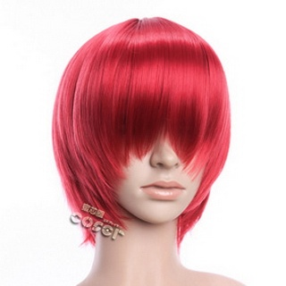 Red Short Nylon Straight Cosplay Wig