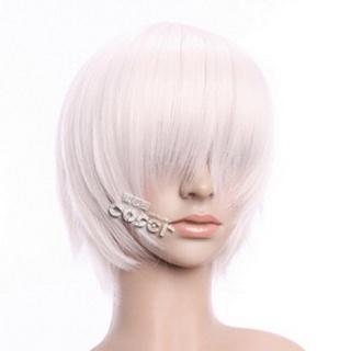 White Short Nylon Straight Cosplay Wig