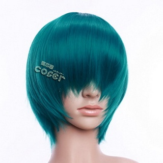 Green Short Nylon Straight Cosplay Wig