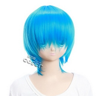 Blue Short Nylon Straight Cosplay Wig