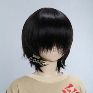 Black Short Nylon Straight Cosplay Wig