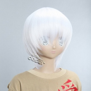 White Short Nylon Straight Cosplay Wig