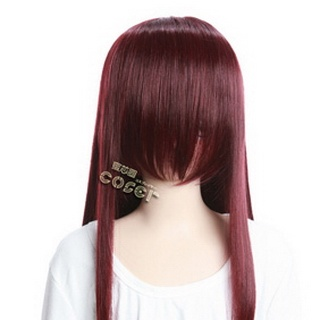 Wine Red  Long Nylon Straight Cosplay Wig
