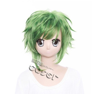 VOCALOID Poleer Face Gumi Green  Short Nylon Curly Cosplay Wig