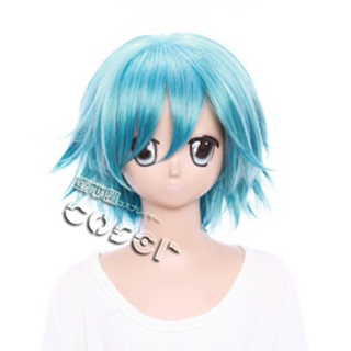 THE MONEY Of SOUL AND POSSIBILITYQ Blue Short Nylon Curly Cosplay Wig