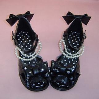 可愛い ブラック 6.3cm 厚底 合皮 ゴム底 リボン ロリィタ/ロリータ鞋