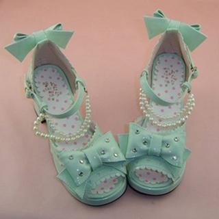可愛い ミントン 6.3cm 合皮 ゴム底 ロリィタ/ロリータ鞋