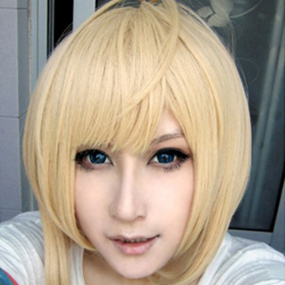 The Cyan Exorcist Moriyama Shiemi Golden Short Nylon Cosplay Wig