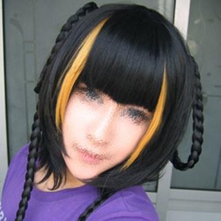 Gujian XiangLing  Black &Yellow  Short Nylon Cosplay Wig