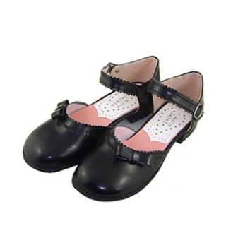可愛い ブラック 2cm 合皮 ゴム底 リボン ロリィタ/ロリータ靴