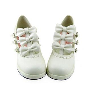 可愛い ホワイト 6.3cm 合皮 ゴム底 リボン ロリィタ/ロリータ靴