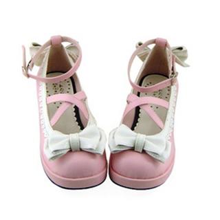 可愛い ピンクとホワイト 4.5cm 合皮 ゴム底 リボン ロリィタ/ロリータ靴