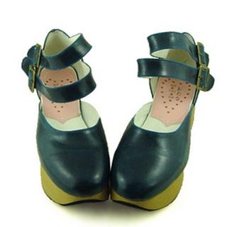 可愛い ブルー 5.5cm 厚底 合皮 ゴム底 ロリィタ/ロリータ靴