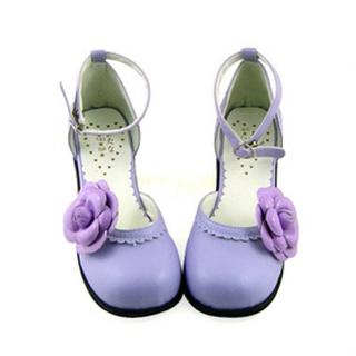 可愛い 紫 4.5cm 合皮 ゴム底 花 ロリィタ/ロリータ靴