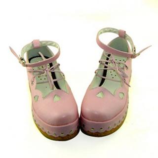 可愛い ピンク 6cm 厚底 合皮 ゴム底 編上げ ロリィタ/ロリータ靴