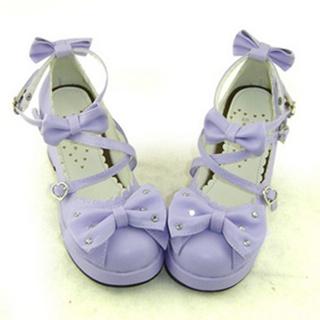 可愛い 紫 7cm 厚底 合皮 ゴム底 リボン 編上げ ロリィタ/ロリータ鞋