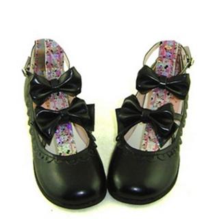 可愛い ブラック 1cm 合皮 ゴム底 リボン 編上げ ロリィタ/ロリータ鞋