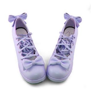 可愛い 紫 6.3cm 合皮 ゴム底 リボン 編上げ ロリィタ/ロリータ鞋