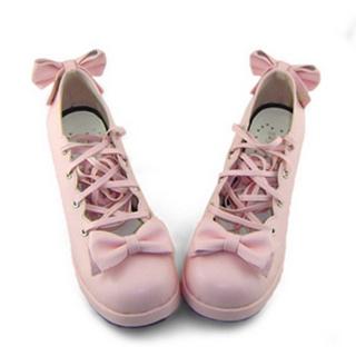 可愛い ピンク 6.3cm 合皮 ゴム底 リボン 編上げ ロリィタ/ロリータ鞋
