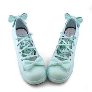 可愛い ミントン 6.3cm 合皮 ゴム底 リボン 編上げ ロリィタ/ロリータ鞋