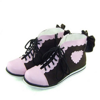 可愛い ピンク コーヒー 合皮 ゴム底 リボン ロリィタ/ロリータ鞋