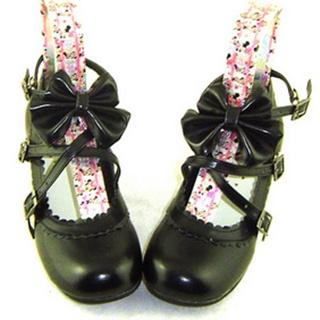 可愛い ブラック フラット 合皮 ゴム底 リボン 編上げ ロリィタ/ロリータ鞋