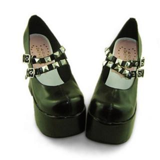 可愛い ブラック 13cm 厚底 合皮 ゴム底 バックル ロリィタ/ロリータ鞋