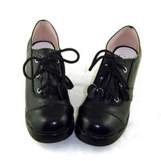 可愛い ブラック フラット 合皮 ゴム底 ロリィタ/ロリータ鞋