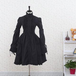 お姫様 黒 クラシック 長袖 リボン レース ゴシック服 ドレス/ロリータワンピース ゴスロリ