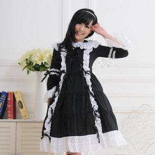 お姫様 黒と白 長袖 リボン レース ロリィタ/ロリータワンピース