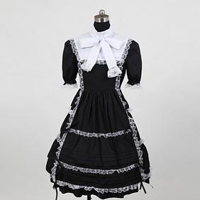 お嬢様 黒と白 スイートハート 半袖(付け袖x2) リボン 編上げ レース ロリィタ/ロリータワンピース