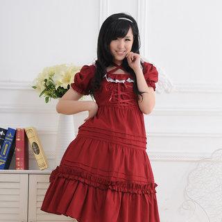 即納◆ お嬢様 赤 半袖 リボン レース ロリィタ/ロリータワンピース 女性Mサイズ