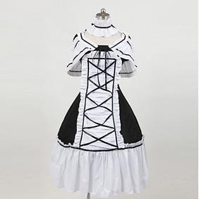 お嬢様 黒と白 クラシック 半袖 リボン 編上げ ロリィタ/ロリータワンピース ゴスロリ