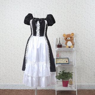 お嬢様 黒と白 クラシック 半袖 リボン レース ロリィタ/ロリータワンピース