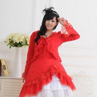 即納◆ お嬢様 赤と白 かわいい 長袖 レース ロリィタ/ロリータワンピース   女性Mサイズ