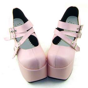 合皮 ゴム底 バックル 厚底 23.5cm ゴスロリ靴 ピンク