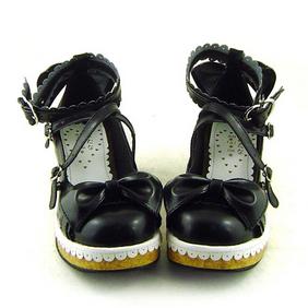 合皮 ゴム底 リボン バックル 23.5cm ゴスロリ靴 ブラック