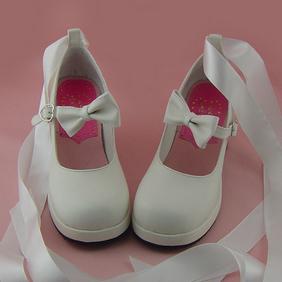 合皮 ゴム底 リボン 編上げ 23.5cm ゴスロリ靴 ホワイト