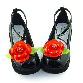合皮 ゴム底 花 厚底 23.5cm ゴスロリ靴 ブラック