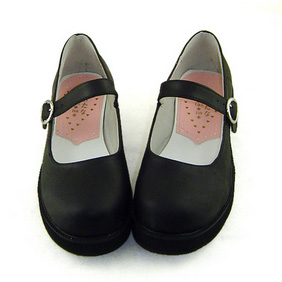 合皮 ゴム底 厚底 23.5cm ゴスロリ靴 ブラック