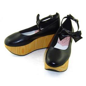 合皮 ゴム底 リボン 厚底 23.5cm ゴスロリ靴 ブラック