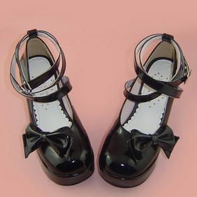 合皮 ゴム底 リボン バックル 厚底 23.5cm ゴスロリ靴 ブラック