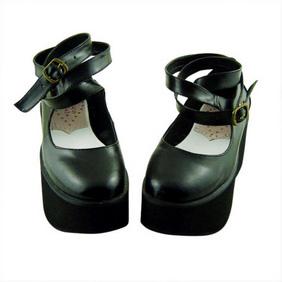 合皮 ゴム底 バックル 厚底 23.5cm ゴスロリ靴 ブラック