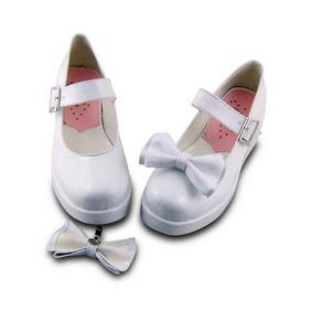 合皮 ゴム底 リボン バックル 23.5cm ゴスロリ靴 ホワイト