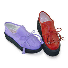 合皮 ゴム底 リボン 厚底 23.5cm ゴスロリ靴 ワイン/紫