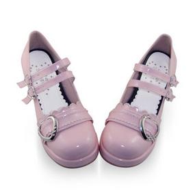 合皮 ゴム底 バックル 24cm ゴスロリ靴 ピンク