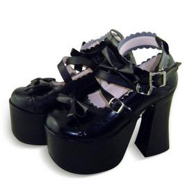 合皮 ゴム底 リボン バックル 厚底 24cm ゴスロリ靴 ブラック